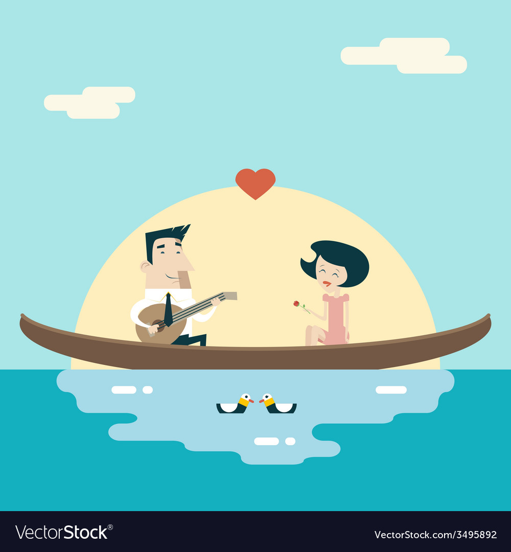 Love male and female on gondola cartoon characters vector | Price: 1 Credit (USD $1)