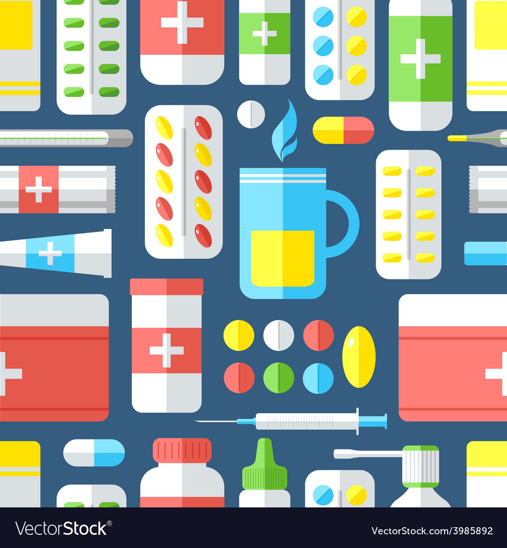 Medicines seamless pattern vector | Price: 1 Credit (USD $1)