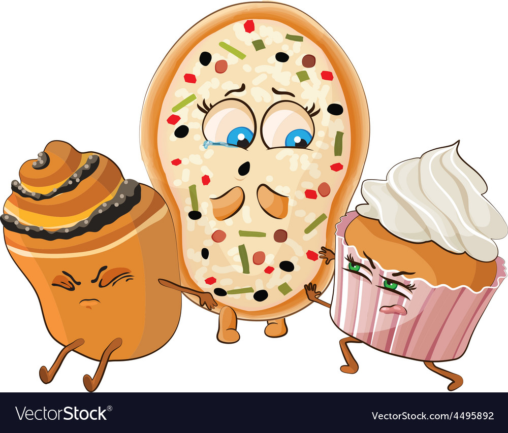 Muffin and cake offend pizza vector | Price: 1 Credit (USD $1)