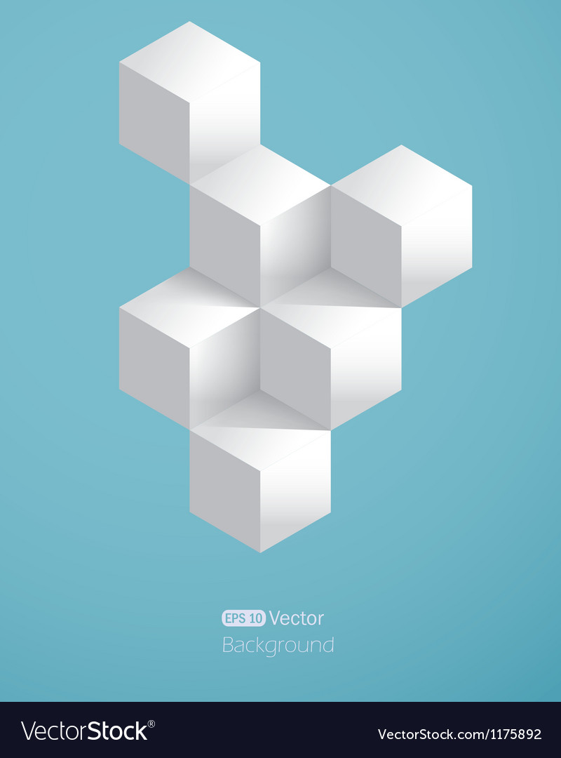 Realistic background with white cubes vector | Price: 1 Credit (USD $1)