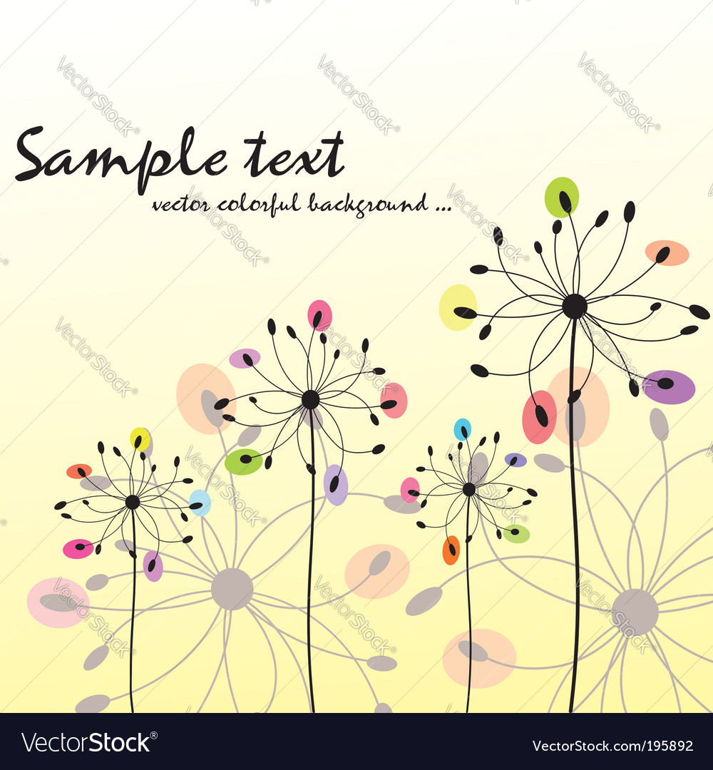 Spring summer floral greeting card vector | Price:  Credit (USD $)
