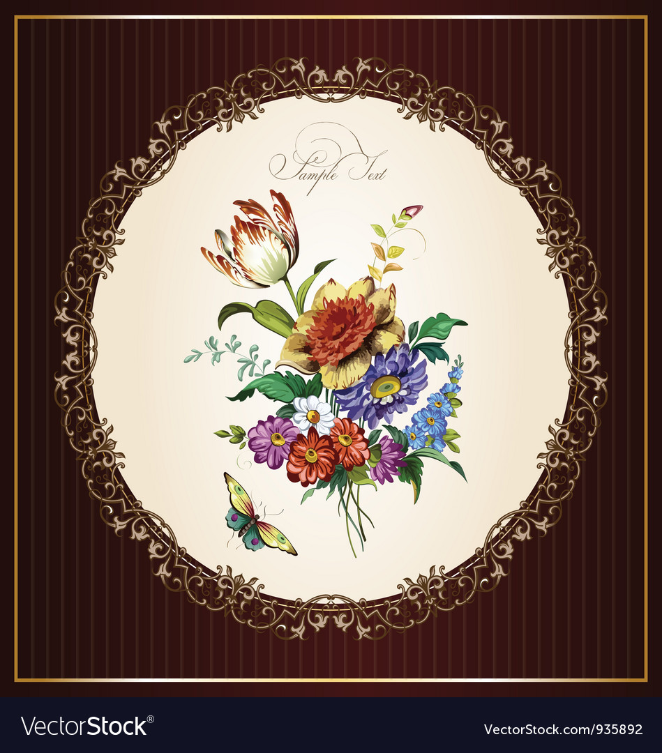 Vintage postcard with beautiful flowers vector | Price: 1 Credit (USD $1)