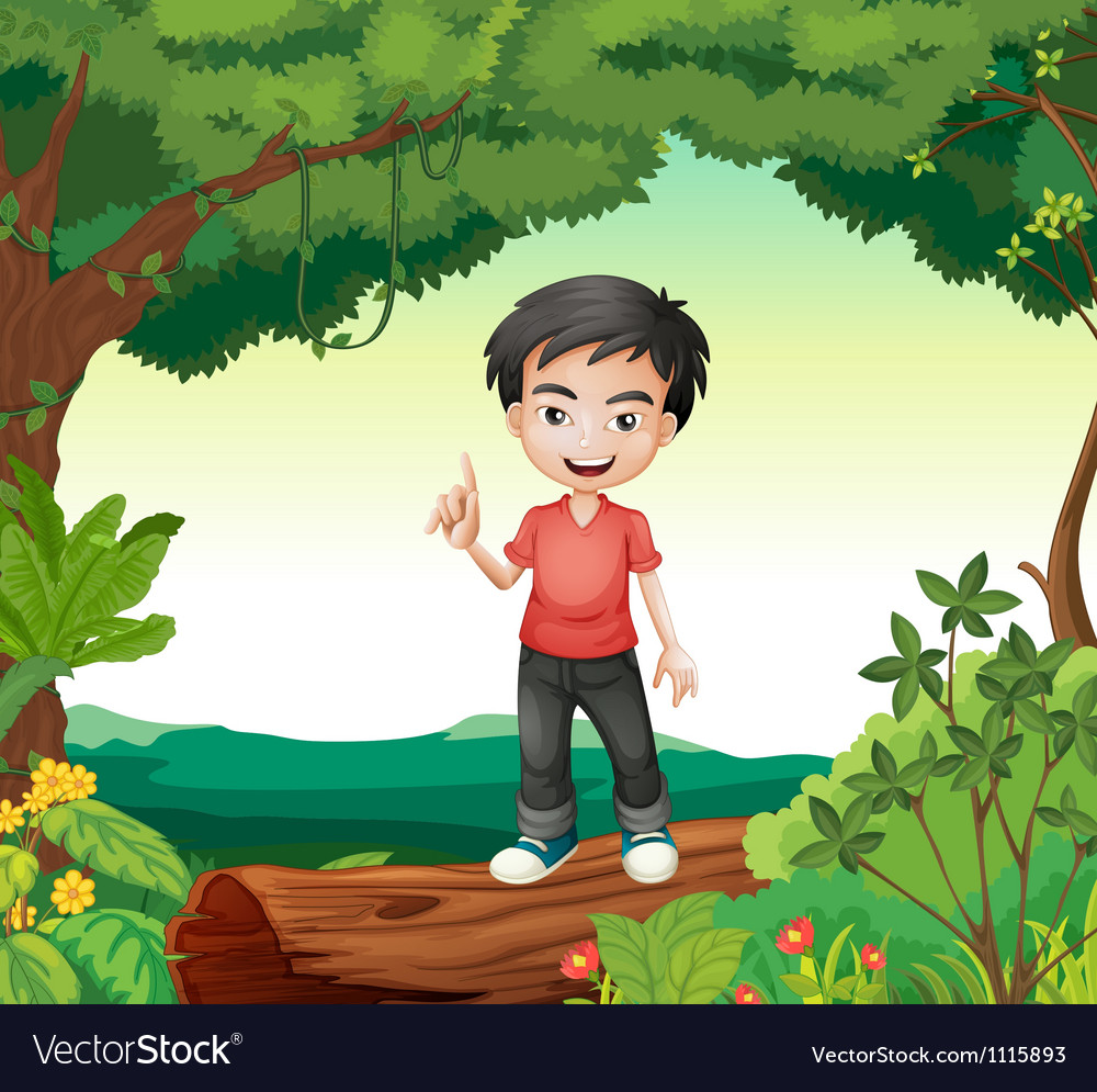 A boy in the nature vector | Price: 3 Credit (USD $3)