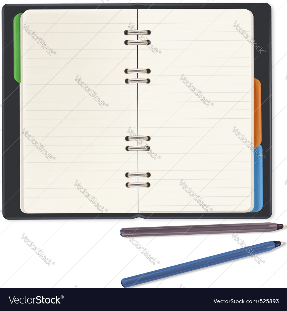 Black notepad and two pens vector | Price: 1 Credit (USD $1)
