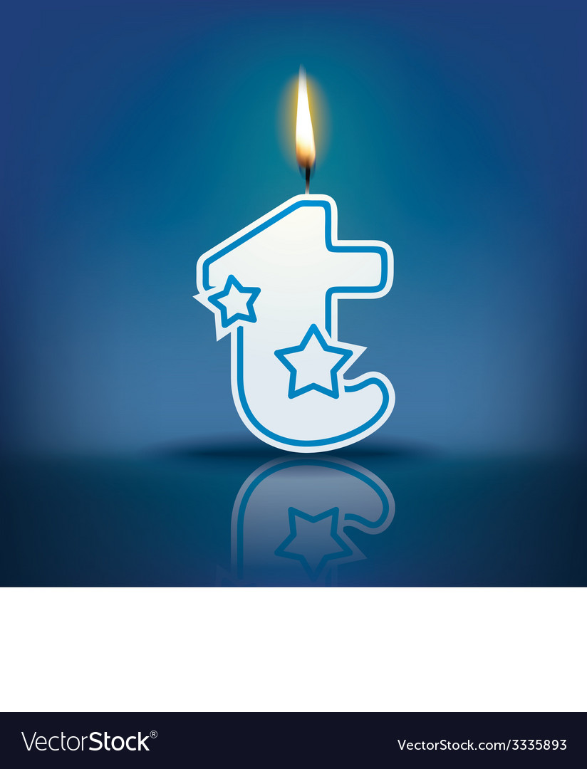 Candle letter t with flame vector   Price: 1 Credit (USD $1)