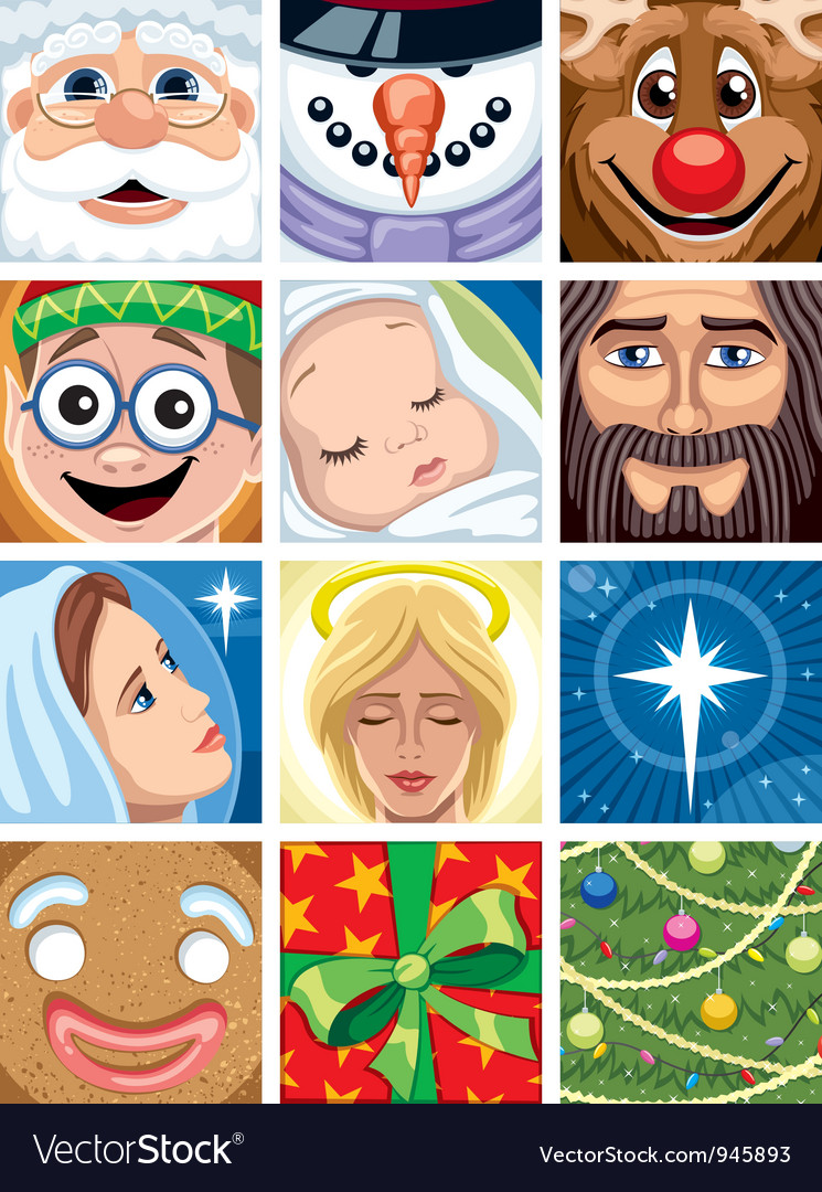 Christmas avatars vector | Price: 5 Credit (USD $5)