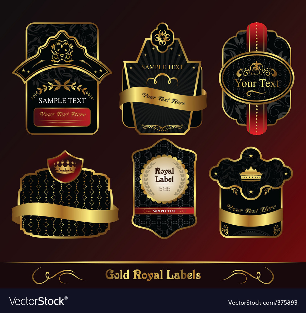 Decorative dark gold frames labels vector | Price: 1 Credit (USD $1)