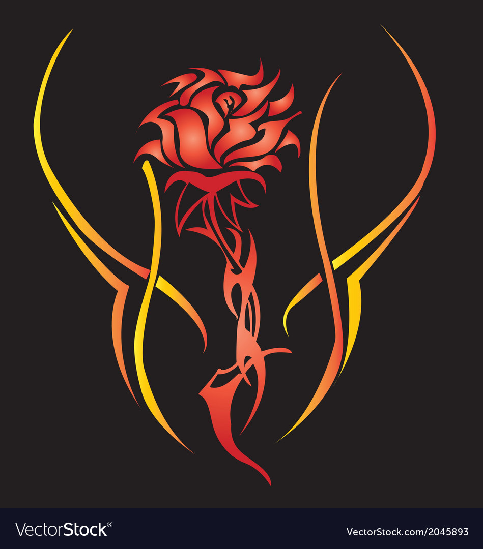Filigree and abstract black rose tattoo style vector | Price: 1 Credit (USD $1)
