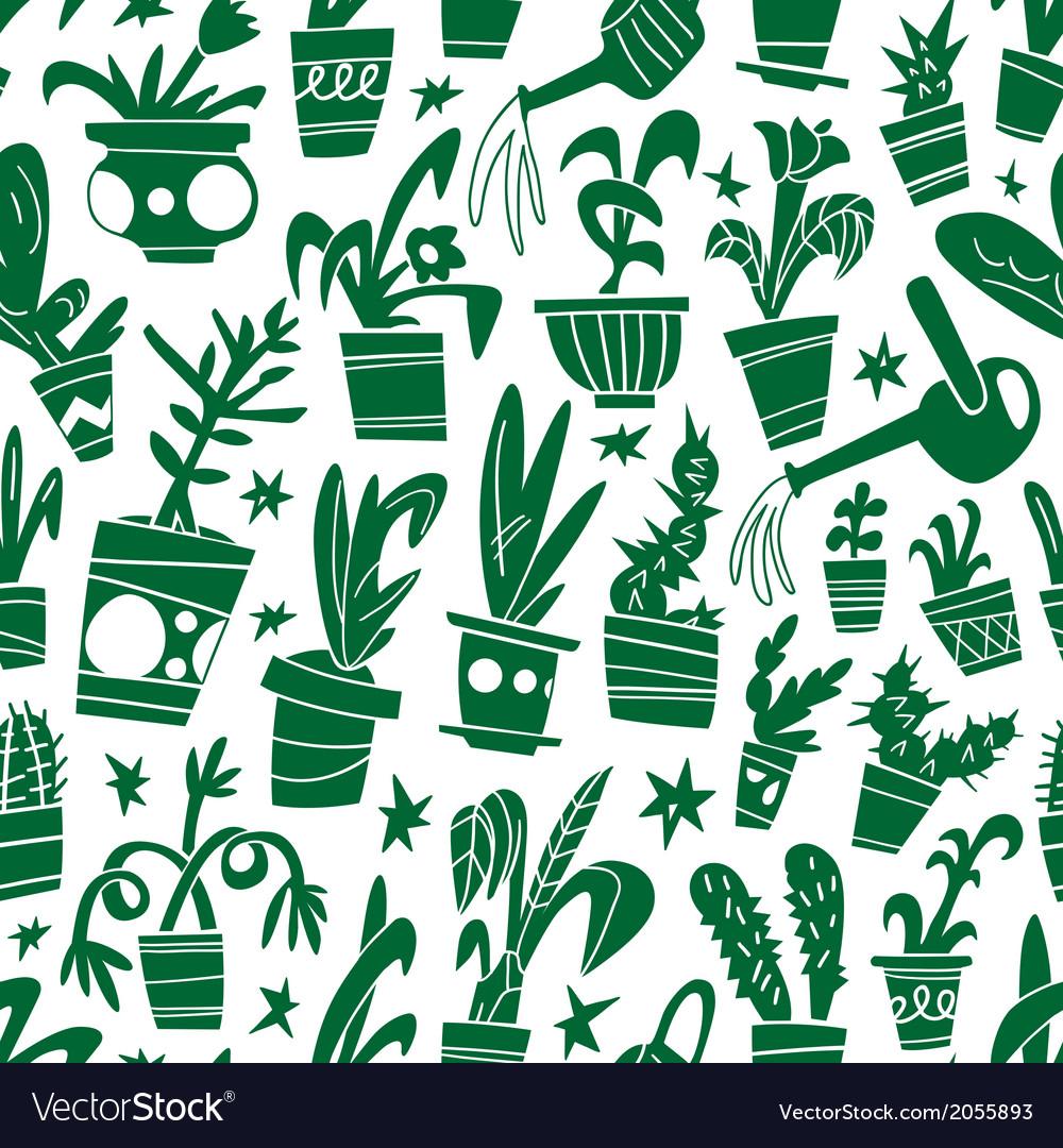 Houseplants - seamless background vector   Price: 1 Credit (USD $1)