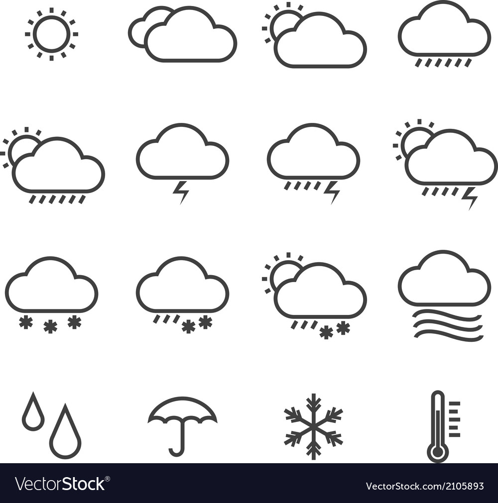 Icon pack weather isolated background vector | Price: 1 Credit (USD $1)