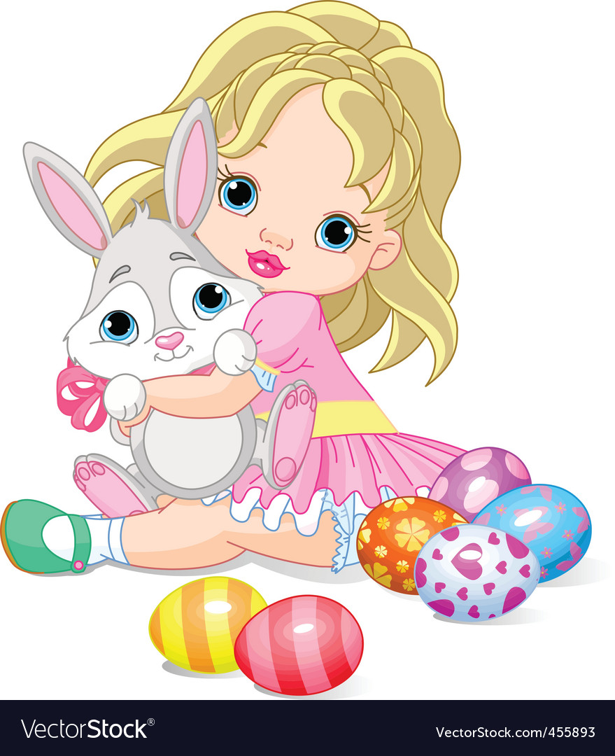 Little girl and easter bunny vector | Price: 1 Credit (USD $1)