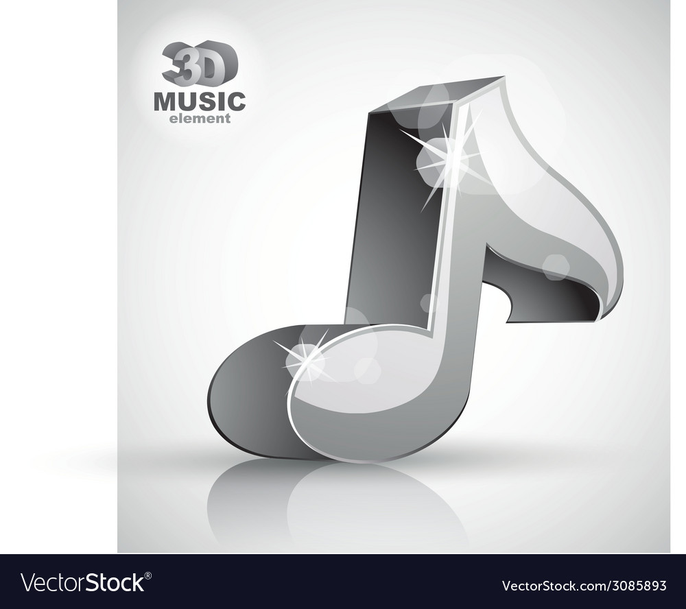 Metallic musical note icon from upper view vector | Price: 1 Credit (USD $1)