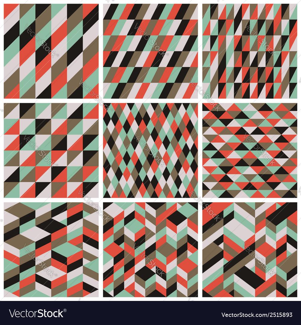 Set of 9 retro seamless patterns vector | Price: 1 Credit (USD $1)