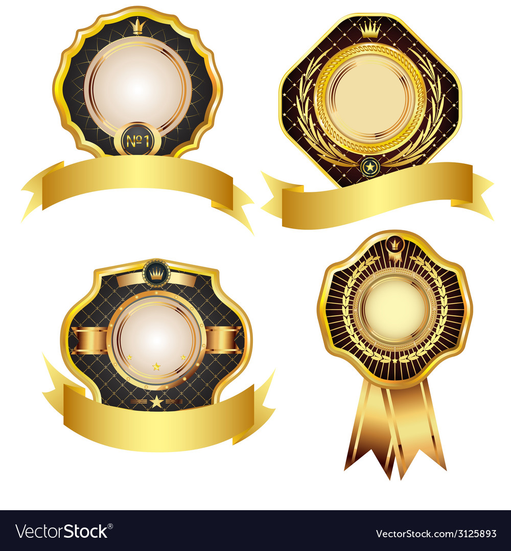 Set of golden design elements vector | Price: 1 Credit (USD $1)