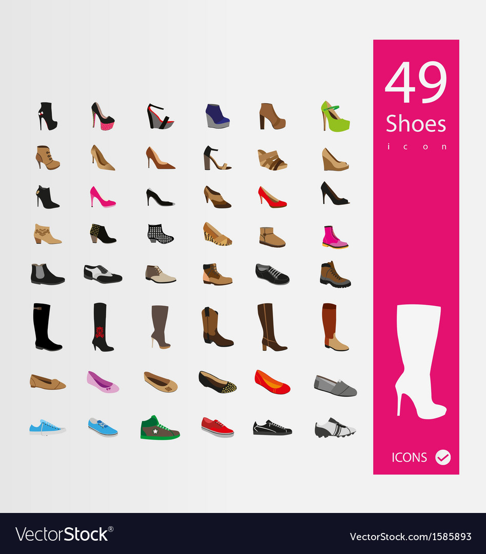 Shoes icons set set of 30 quality icons vector | Price: 1 Credit (USD $1)