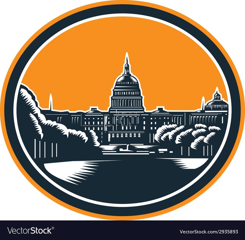 United states capitol building woodcut retro vector | Price: 1 Credit (USD $1)