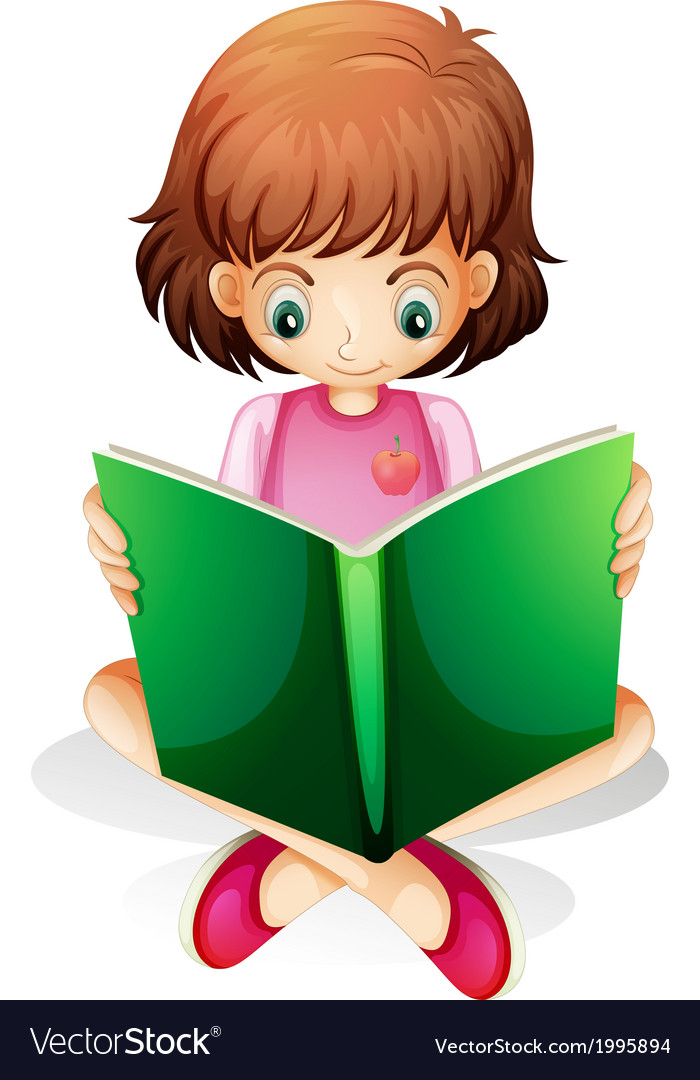 A young girl reading a green book vector | Price: 1 Credit (USD $1)