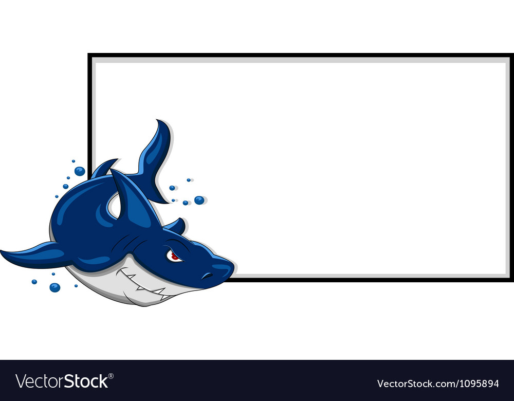 Angry shark with blank sign vector | Price: 3 Credit (USD $3)