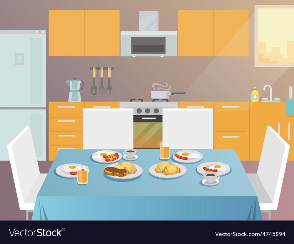 Breakfast table flat vector | Price: 3 Credit (USD $3)