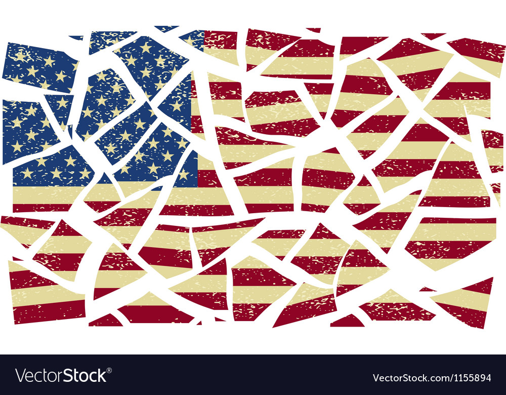 Broken-down american flag vector | Price: 1 Credit (USD $1)