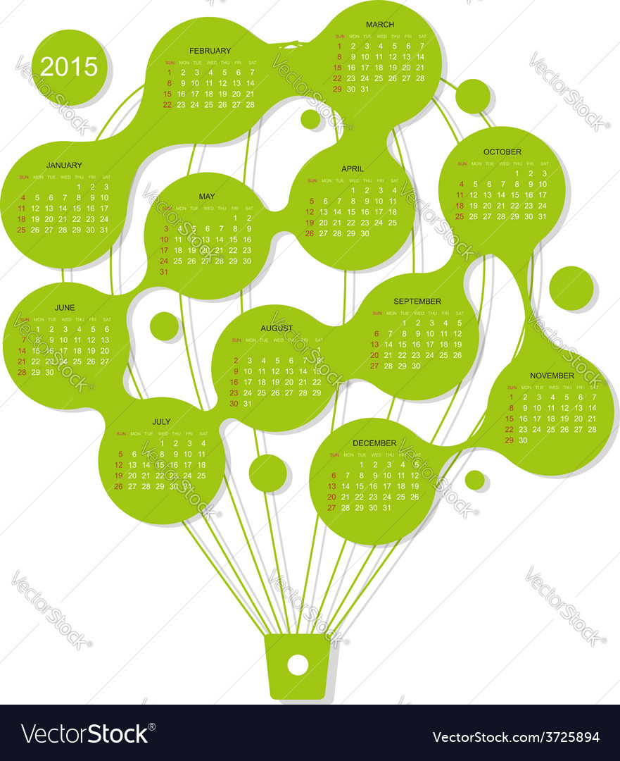 Calendar grid 2015 air balloon for your design vector