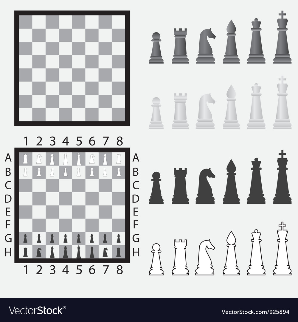 Chessboard with pieces vector | Price: 1 Credit (USD $1)