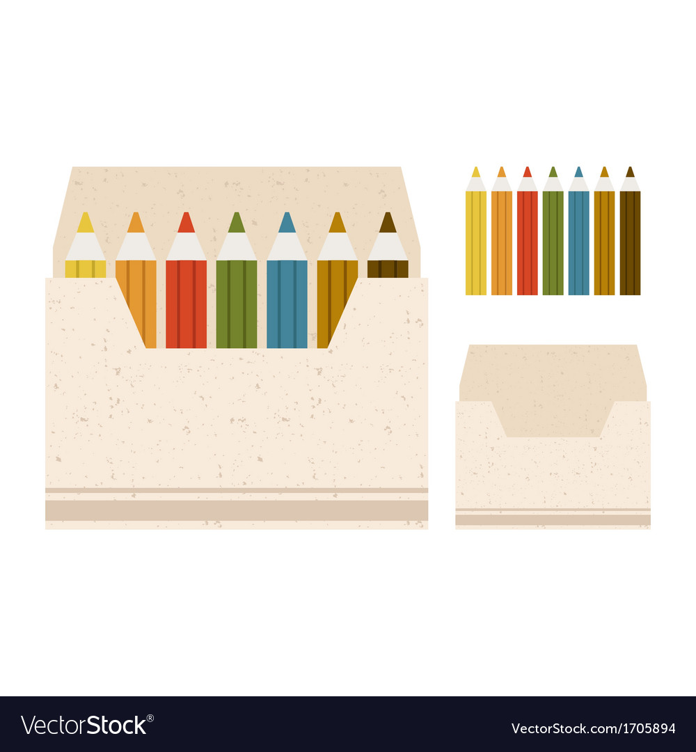 Coloured pencils in the box on a b vector | Price: 1 Credit (USD $1)