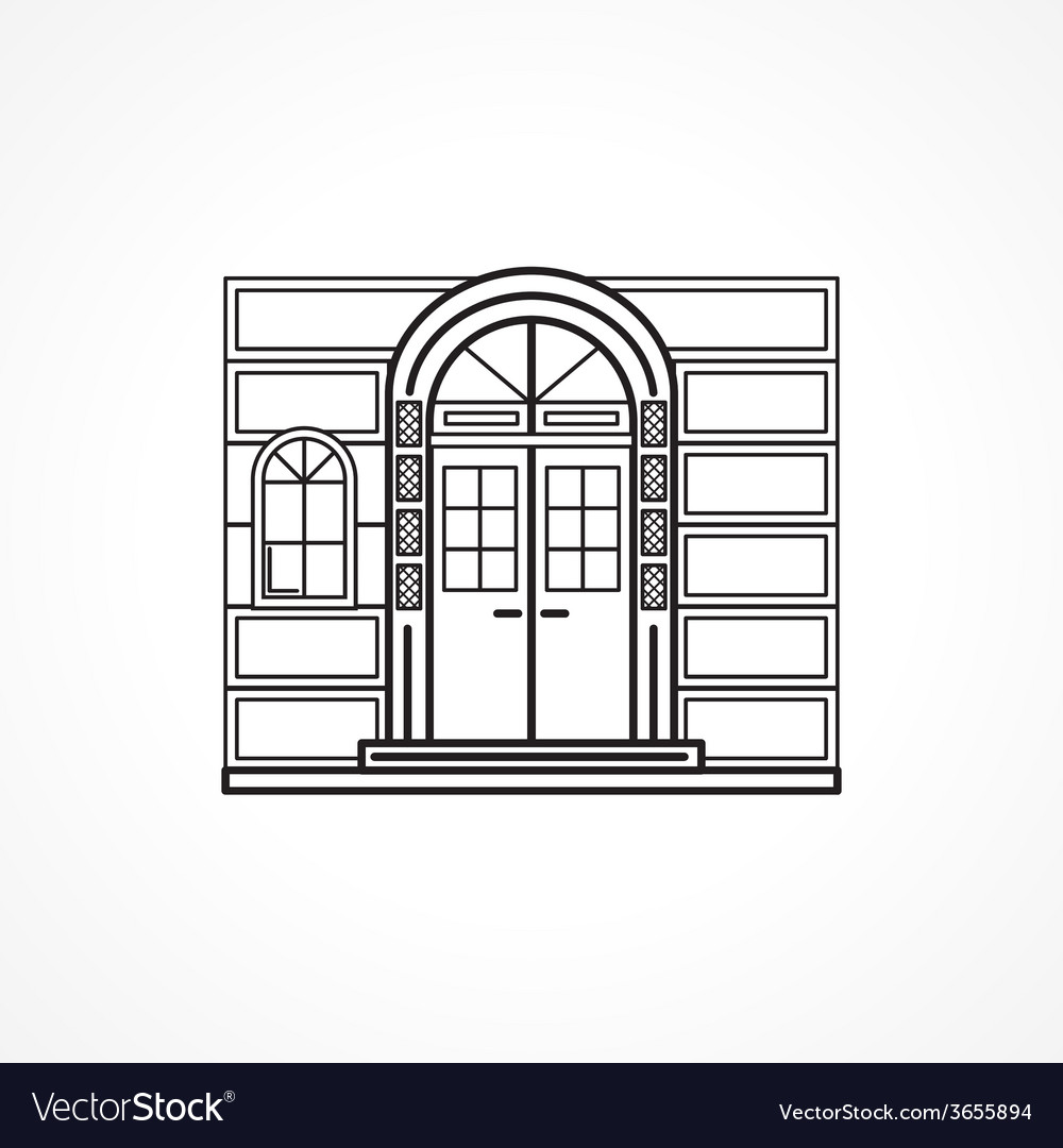 Facade arch door black line icon vector | Price: 1 Credit (USD $1)