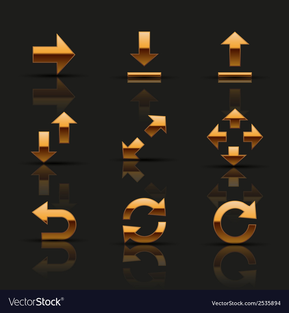 Set of golden icons vector   Price: 1 Credit (USD $1)