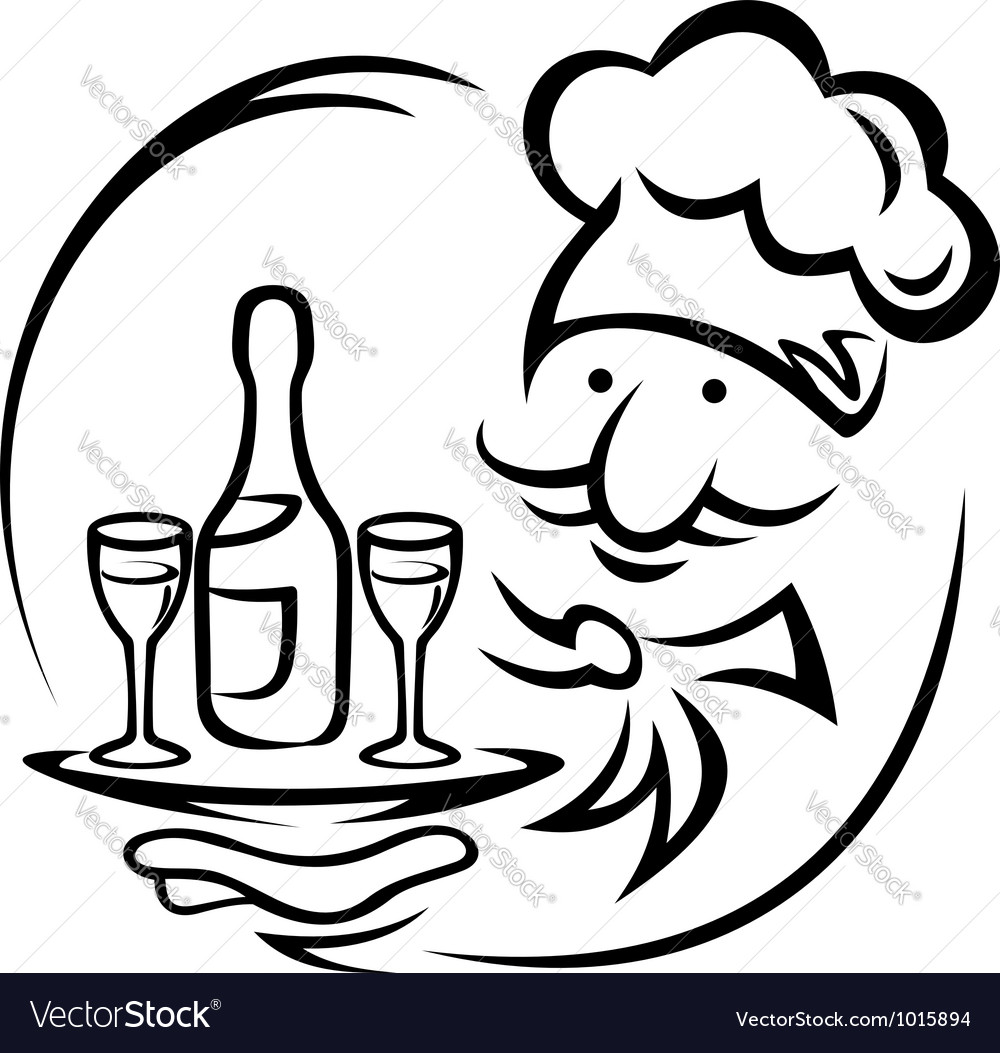 Waiter with tray and champagne vector | Price: 1 Credit (USD $1)