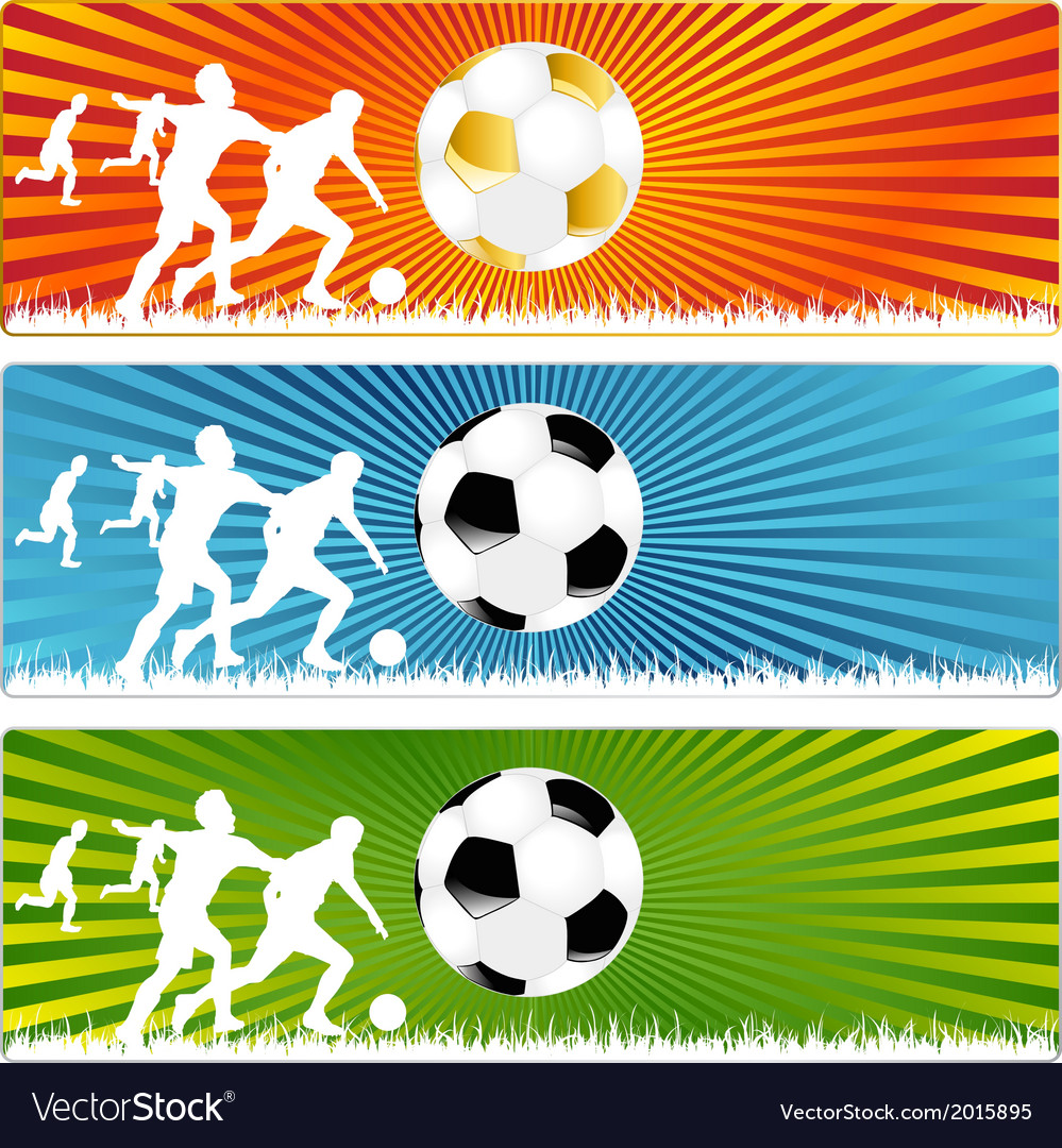 3 soccer ball or football banners vector | Price: 1 Credit (USD $1)