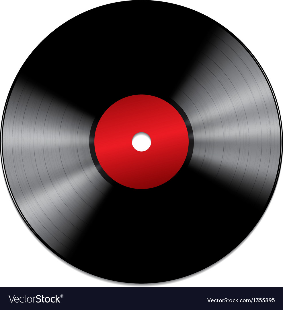 Black vinyl record isolated on white background vector