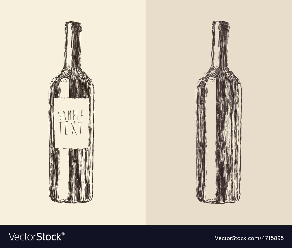 Bottle of wine  engraved style vector | Price: 1 Credit (USD $1)