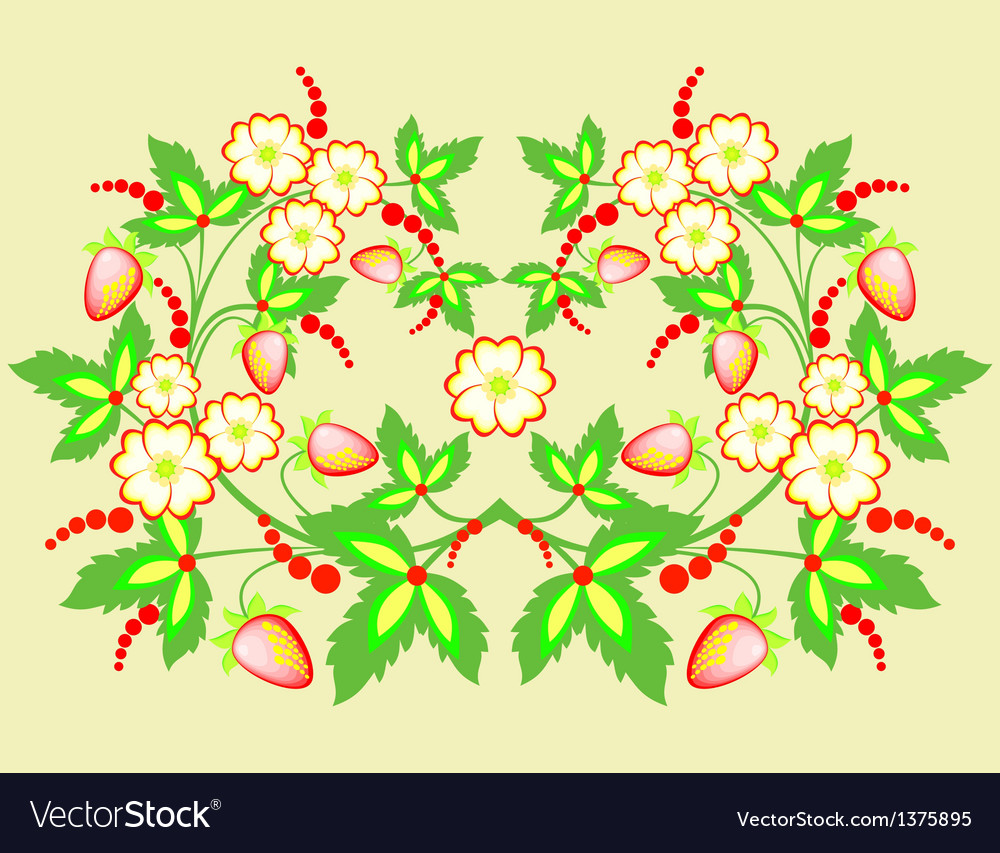 Flowers and strawberries vector | Price: 1 Credit (USD $1)
