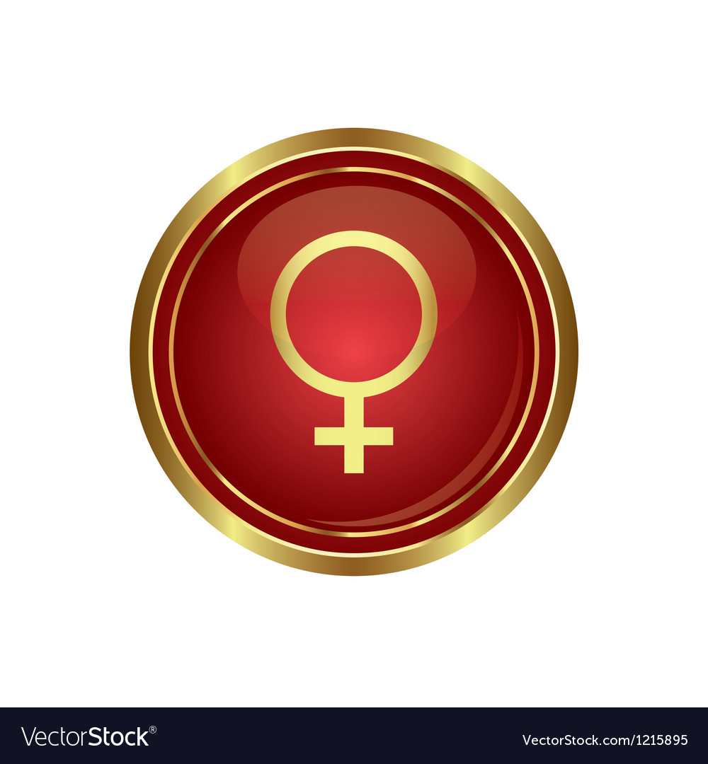 Golden round button with female symbol vector | Price: 1 Credit (USD $1)