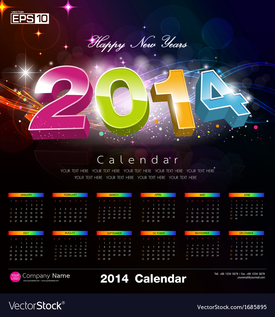 Happy new year calendar 2014 vector | Price: 1 Credit (USD $1)