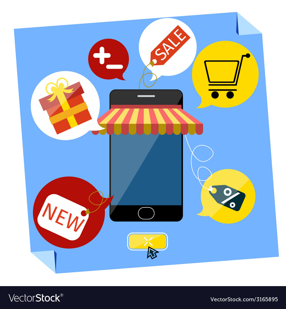 Internet shopping concept smartphone with awning vector | Price: 1 Credit (USD $1)