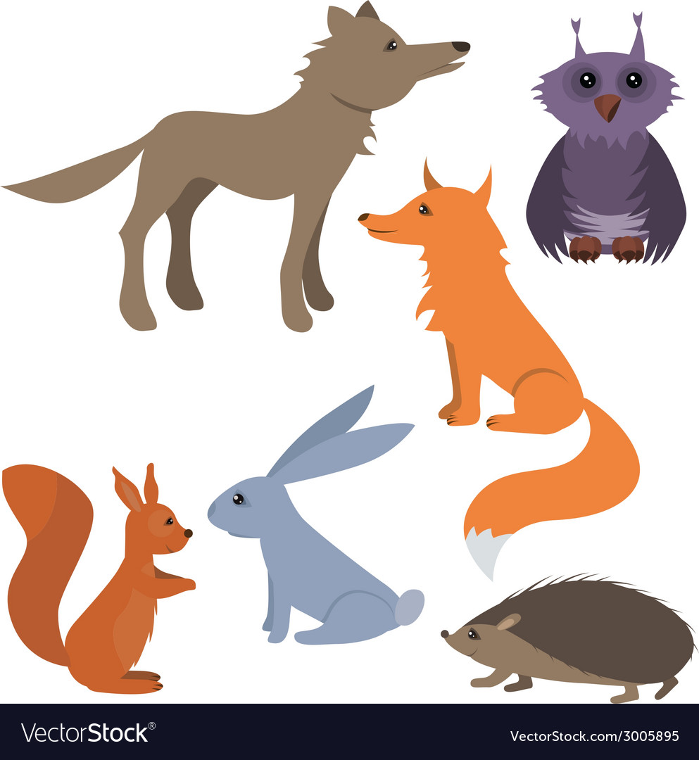 Set with wild animals vector | Price: 1 Credit (USD $1)