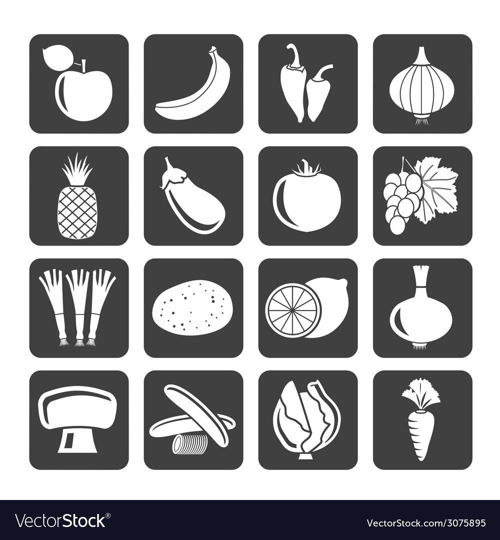 Silhouette different kind of fruit and vegetables vector | Price: 1 Credit (USD $1)