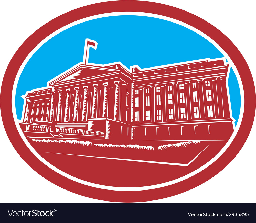 The treasury building washington dc woodcut retro vector | Price: 1 Credit (USD $1)