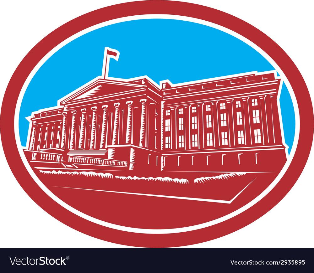 The treasury building washington dc woodcut retro vector | Price: 1 Credit (USD $1)