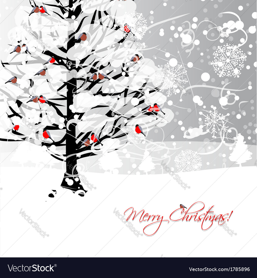 Christmas card design with winter tree and vector   Price: 1 Credit (USD $1)