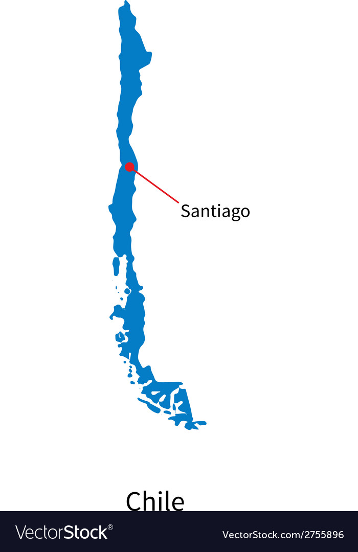 Detailed map of chile and capital city santiago vector | Price: 1 Credit (USD $1)