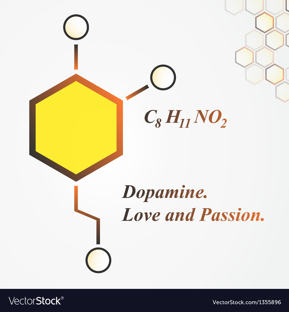 Dopamine molecule love and passion concept vector | Price: 1 Credit (USD $1)