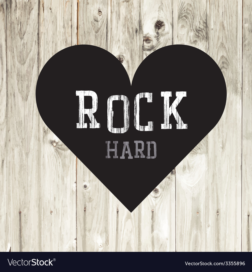 Hard rock wooden concept heart vector | Price: 1 Credit (USD $1)