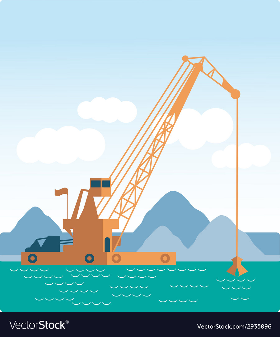 Modern style flat huge crane barge industrial ship vector | Price: 1 Credit (USD $1)