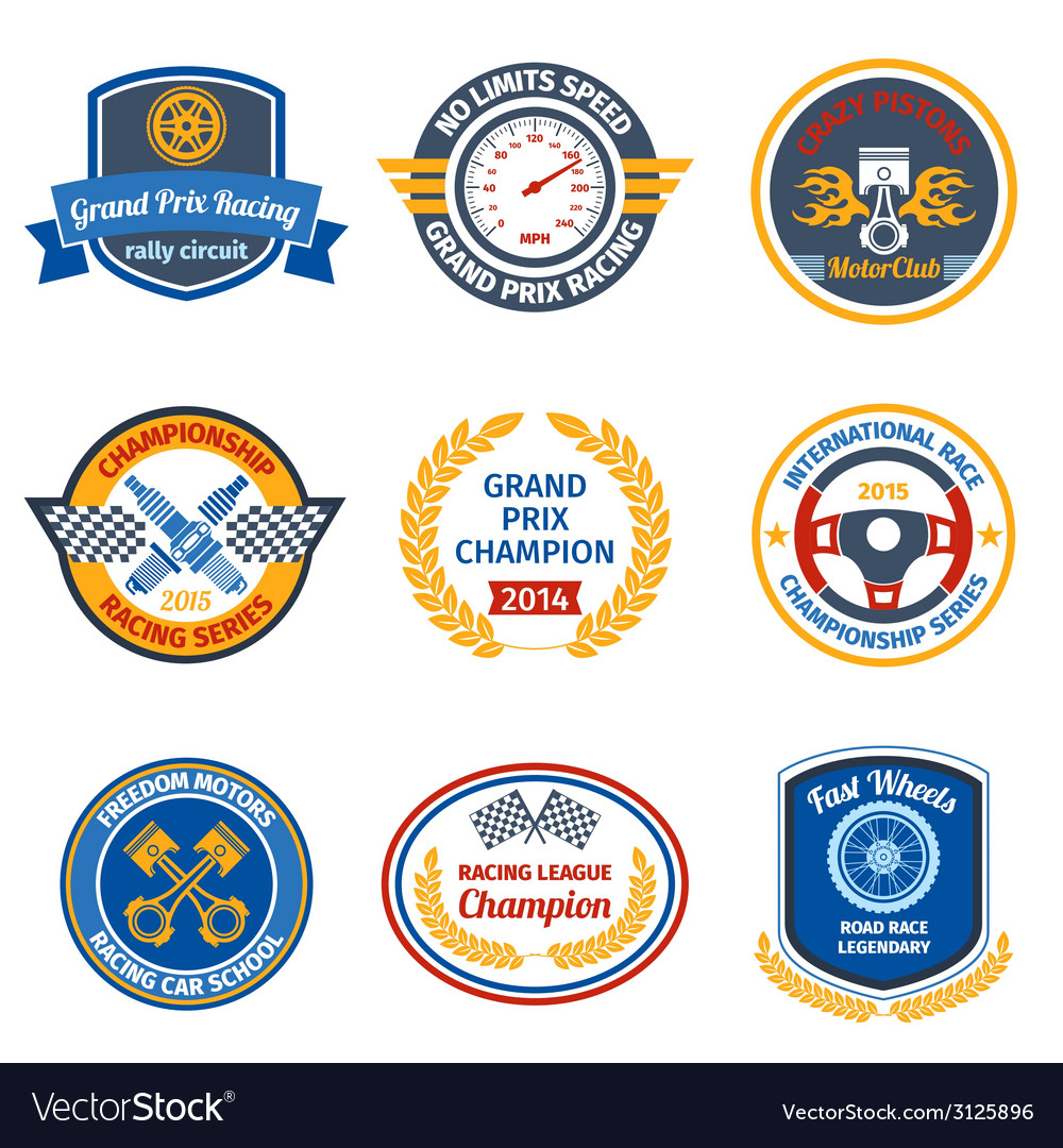 Racing emblems colored vector | Price: 1 Credit (USD $1)