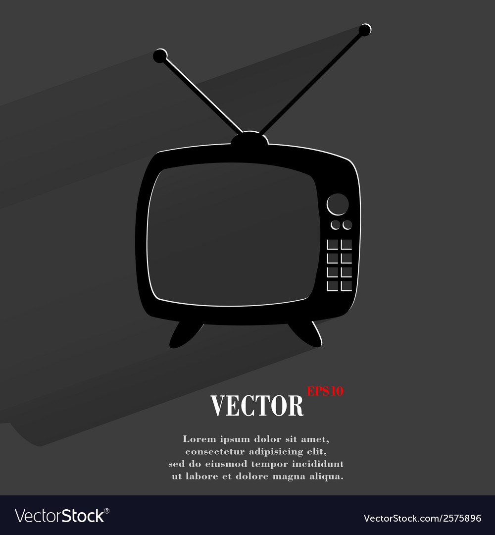 Retro tv flat modern web button with long shadow vector | Price: 1 Credit (USD $1)