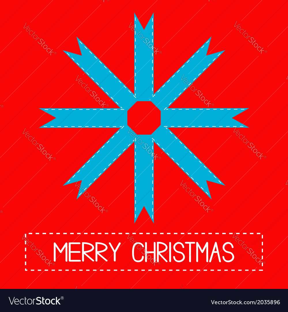 Snowflake made from ribbons merry christmas card vector | Price: 1 Credit (USD $1)