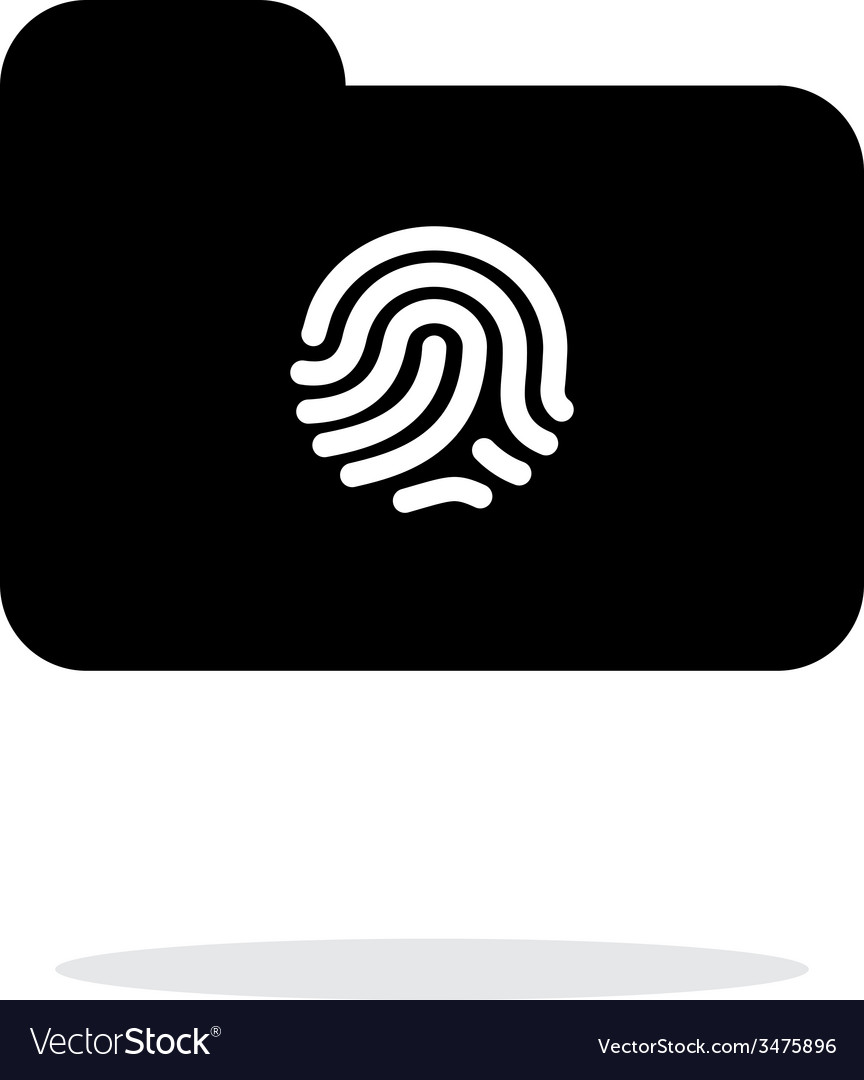 Thumbprint on folder icon on white background vector | Price: 1 Credit (USD $1)